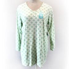 Cool Girl Muk Luks Plus Button Green Geo Print Soft Cozy Nightie Sleep Shirt 2X