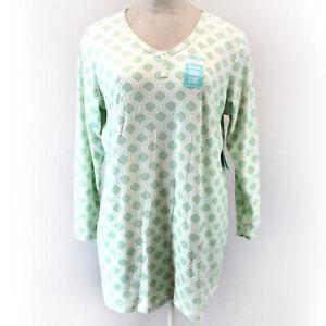 Cool Girl Plus Button Green Geo Print Soft Cozy Nightie Sleep Shirt 2X