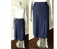 Christian Dior 100% Wool Pleated Midi Wrap Pencil Vintage 70s Navy Blue Skirt Xs