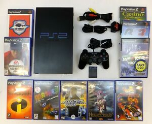 PLAYSTATION 2 PS2 PHAT CONSOLE PACKAGE + LEADS 1 PAD MC 10 GAMES TESTED & GC
