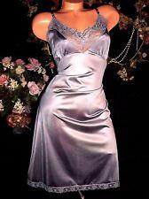 vtg SILKY SILVER STUNNING PIN UP DRESS SLIP NIGHTY NIGHTGOWN WEAR 42/44