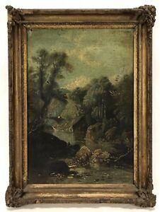 Antique Oil Painting On Canvas Forest River Alcove Men Landscape Framed