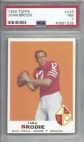 1969 Topps football card #249 John Brodie, San Francisco 49ers graded PSA 7