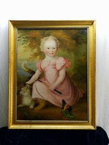 """Early American """"Portrait of a child with cat""""  Oil on Canvas Restored"""