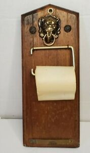 Vintage Mid-Century Wood Message Note Board Lions head w/paper Roll. Japan