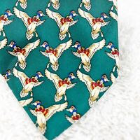 """Brooks Brothers Flying Mallard Ducks Neck Tie Green All Silk USA 3.5"""" x 57.25""""L"""