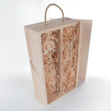 Wooden Plain Wine Box Holder with Wood Wool /2 Bottle Case /Sliding Lid and Rope