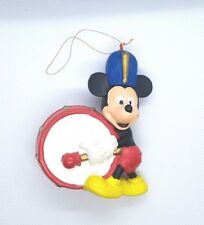 "Vintage Walt Disney Mickey Mouse Christmas Ornament Playing Drum 3.5"" Tall Band"