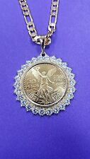 50 peso Mexican coin pendant, necklace  centenario Gold Plated  with CZ stones