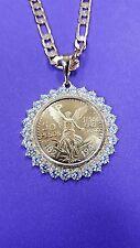 50 peso Mexican coin pendant, necklace centenario Gold Plated  with CZ stones