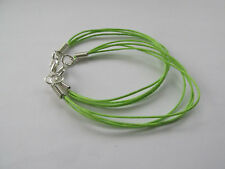 2 Lime Green Waxed Cotton Cord - 4 String Bare Bracelet For Jewellery Design