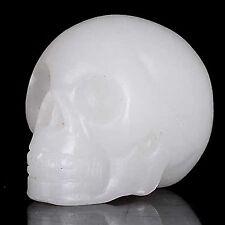 "Wholesale 2"" Natural White Jade crystal skull carving"