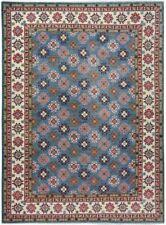 Geometric BLUE/IVORY Hand-Knotted Super Kazak Wool Oriental Area Rug 9x12 Carpet