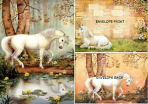 """""""UNICORN FOREST"""" BY Ruth Sanderson. TREE-FREE GREETING CARD"""
