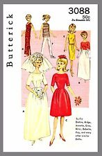 "Vintage Butterick Barbie Doll Clothes Fabric material Sew Sz 11/2"" Pattern #3088"