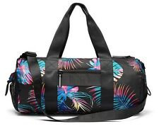 Victorias Secret PINK Gym Duffle Bag Black Palm Print Tote w/ Shoe Holder NWT