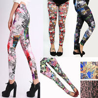 Lady's Punk Funky Text Print Sexy Leggings Stretchy Tight Pencil Skinny Pants US