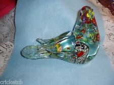 Gorgeous ART DECO Glass BIRD w/multi-color Designs inside the Glass  MURANO?SALE
