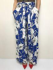 ZARA BASIC blue white floral wide leg high waisted sash waist palazzo pants sml