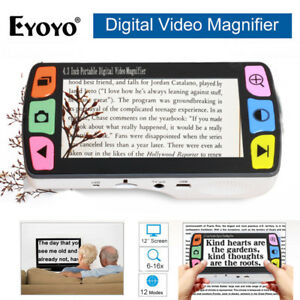 """Eyoyo 4.3"""" Electronic Digital Reading Aid 6x-16x Video Magnifier to Low Vision"""