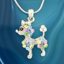 "POODLE W Swarovski Crystal DOG Puppy Pet Multi Color Pendant Necklace 18"" Chain"
