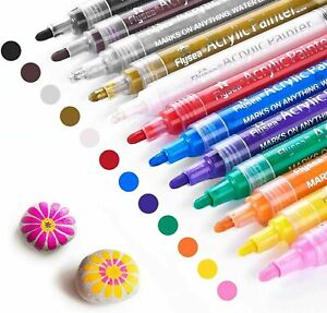 Acrylic Paint Marker Pens Permanent for Stone Painting Ceramic Glass Wood Fabric