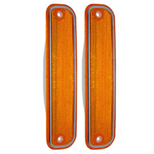 Pair Front Signal Side Marker Lights Chrome Trim for 73-80 Chevy GMC SUV Pickup