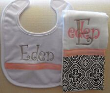 Pink and Grey Personalized Embroidered Burp Cloth and Bib Set - Great Gift Idea!