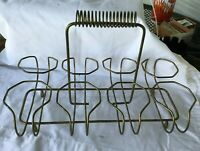 * Mid Century Wirey Drinking Glass Holder Caddy Carrier holds 8 drinking glasses