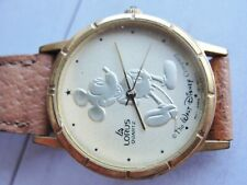 Disney Mickey Mouse Watch Lorus New Battery Pre-owned Walt Disney Gold Tone Vgc