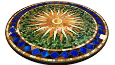 "24"" Black Marble Round Coffee Table Top Inlay Floral Marquetry Garden Decorative"