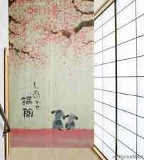 Little Dog and Romantic Oriental Cherry Sakura Japanese Noren Doorway Curtain 21