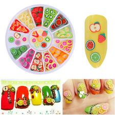 12Patterns 3D Tiny Fruit Fimo Slice DIY Colorful Nail Art Sticker Tip Nail Decor