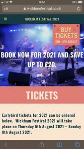 Wickham Festival Tickets - Weekend Pass 2x Adult and 1x Child (emailable)
