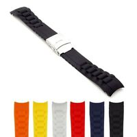 StrapsCo Waterproof Rubber Watch Band Strap w/ Curved Ends 18mm 20mm 22mm
