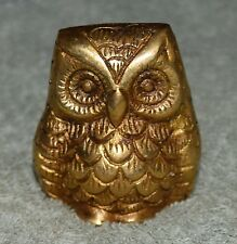 Golden Hand Carved Brass Owl Bird Figurine Home & Office Decor Paper Weight BM50