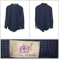 Territory Ahead Men's Dark Blue Thick Long Sleeve Button Down Shirt - Large