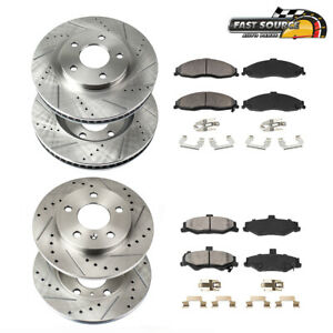 For Dodge Charger Magnum 300 Front+Rear Drill Slot Brake Rotors And Ceramic Pads