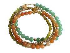 Gemshine Armband Set Golden Leaves Jade Aventurin Grün Orange Vergoldet