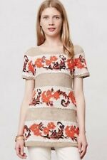 NWT ANTHROPOLOGIE Banded Bouquets Tunic Top by Knitted and Knotted Orange Tan  L