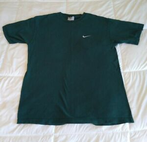 Vintage 90s Dark Green Nike Made in USA Embroidered Small Swoosh T-Shirt Size M