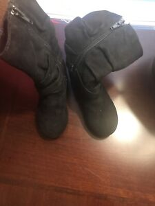 Smart Fit Girls' Suede Dress Boots Toddler Size 8 Black High Top Riding Boots