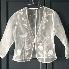 Petite Precis white sheer silk top shrug flower embroidery bridal boho Size 8UK
