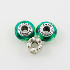 Pandora Lampwork Beads and Sterling Silver Charm, Lot of Three, Green