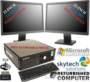 """FAST DELL COMPUTER BUNDLE 2 x 22"""" LCD MONITOR 6GB RAM WIN10 MULTISCREEN CHEAP PC"""