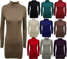 New Womens Plus Size Long Sleeve Polo Neck Tops Turtle Neck Slouch Tops 16-26