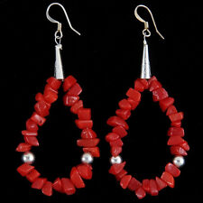 Navajo French Hook Earrings Red Coral Loops