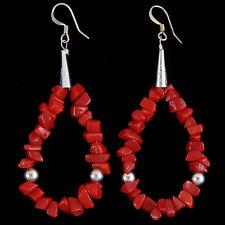 Navajo French Hook Earrings Red Coral Loops