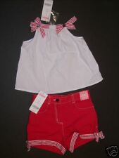 NWT Gymboree 2T All American 4th of July White Ribbon Top & Red Shorts