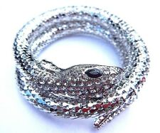 SILVER COILED SNAKE BRACELET cuff bangle serpent Egyptian wrap snek asp NEW Z3